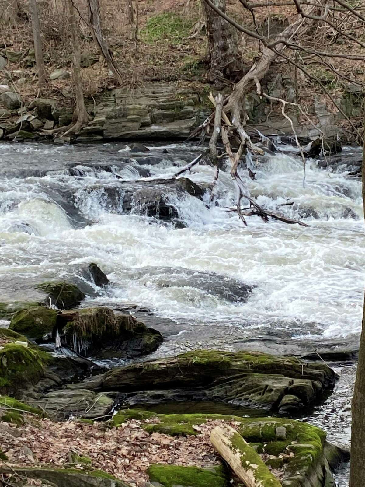 The cascading waters of the Still River run through Harrybrooke in New Milford.