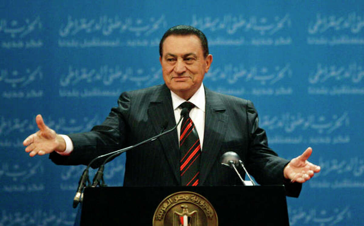 Egyptian President Hosni Mubarak delivers a speech at the first day of the 5th annual convention of the ruling National Democratic Party in Cairo, Egypt. Mubarak, 91, the Egyptian leader who was the autocratic face of stability in the Middle East for nearly 30 years before being forced from power in an Arab Spring uprising, died Feb. 25. (AP Photo/Nasser Nasser, File)