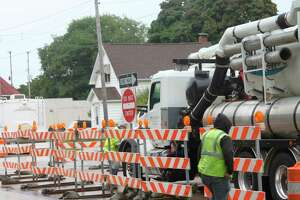 Barrels were placed on the inner lanes of U.S. 31 from First St. to Ninth St. for sewer main upgrades. (File photo)