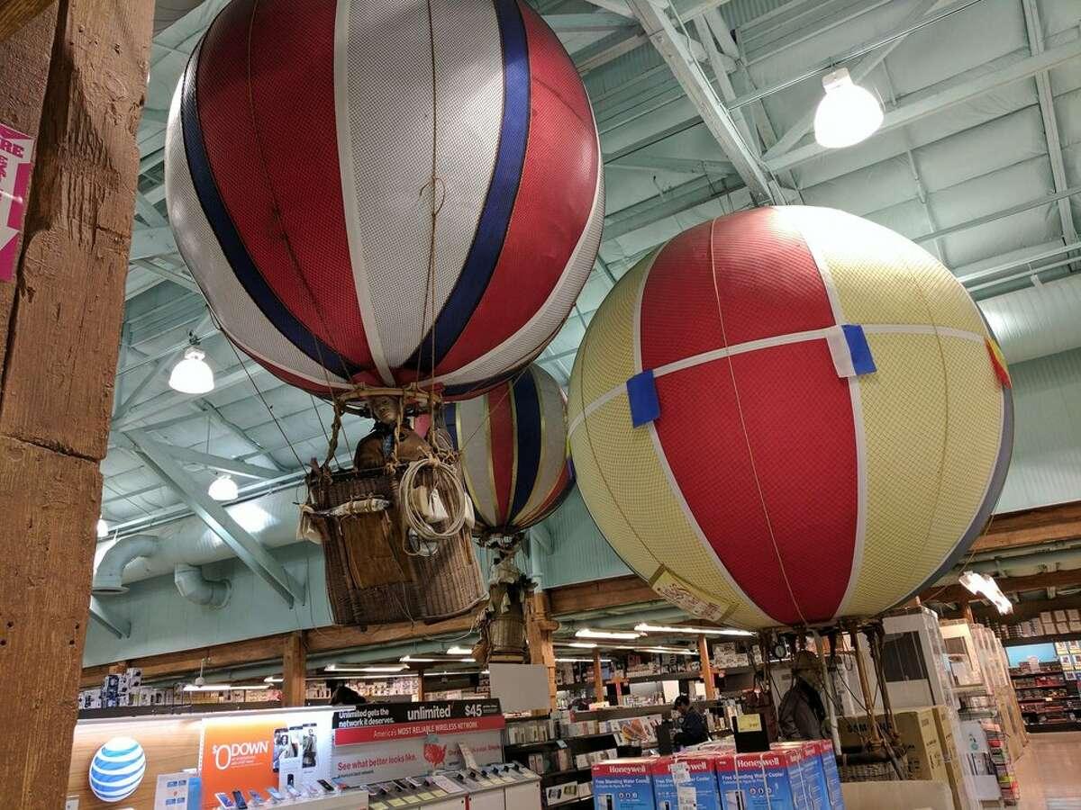 Hot air balloons at Fry's in Palo Alto.