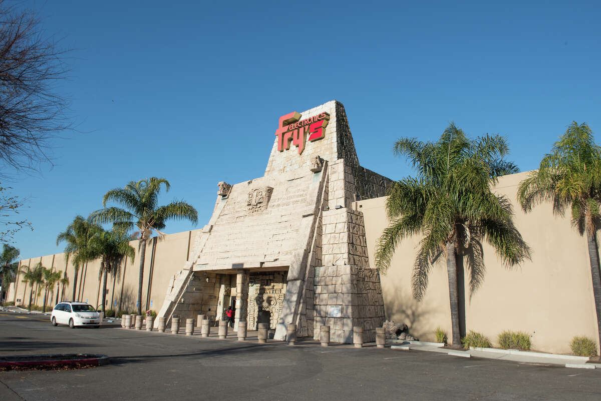Entrance to the Mayan-themed Fry's Electronics in San Jose.