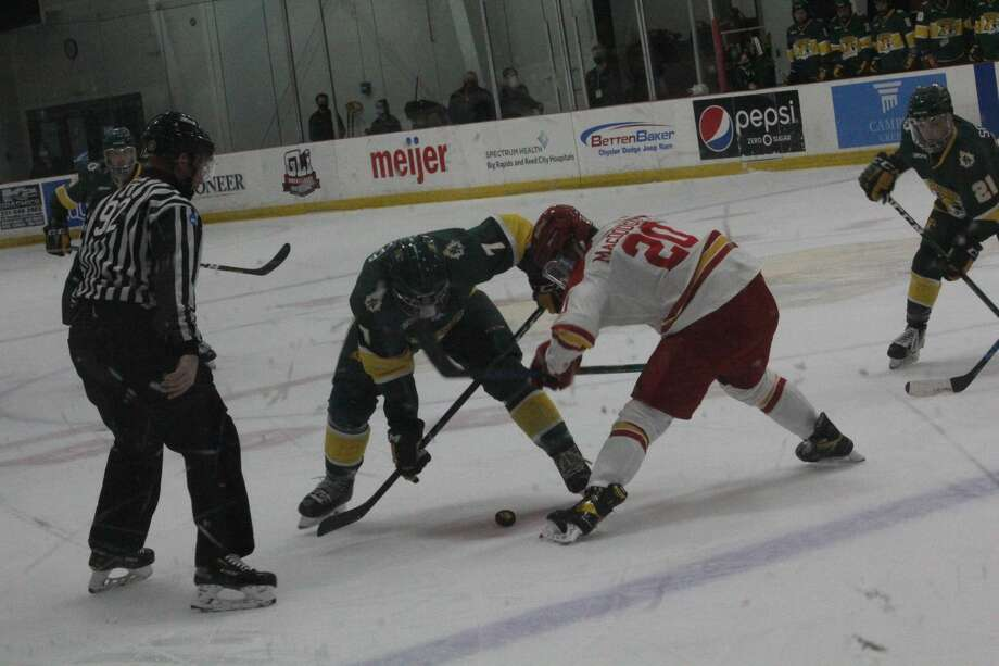Northern Michigan defeated Ferris State 6-5 in overtime in nonleague action on Wednesday in the Ewigleben Ice Arena. Photo: John Raffel