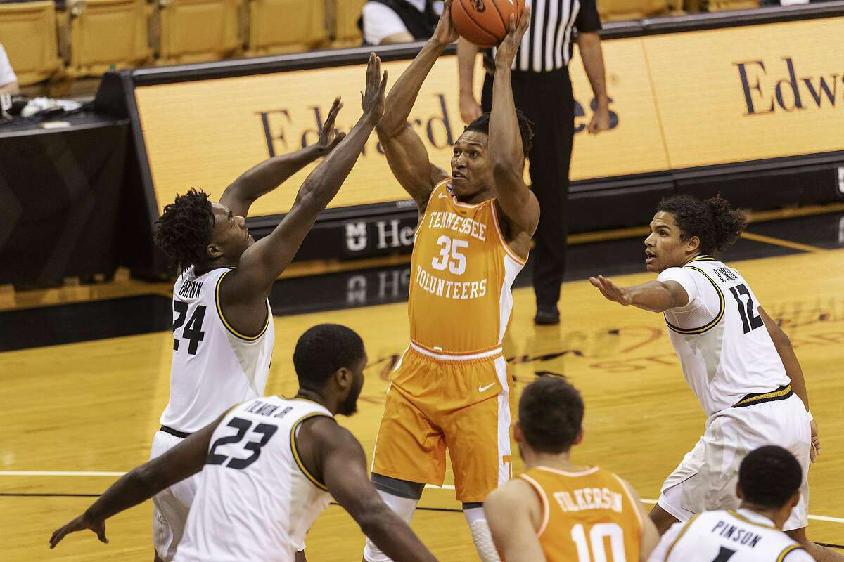 Tennessee's Yves Pons prepares to shoot in the Volunteers' 73-53 victory at Missouri. Pons scored 13 points.