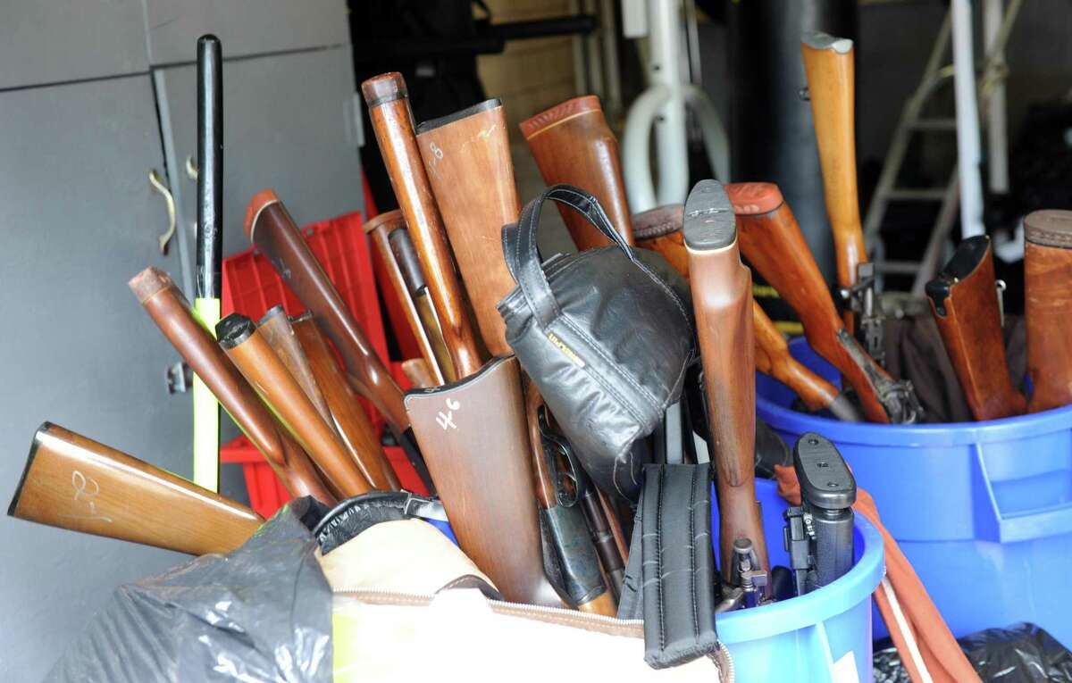 A file photo of some of the guns collected during a gun buyback at the Community Services Division at 1395 Sylvan Ave. in Bridgeport, Conn., on July 18, 2015.