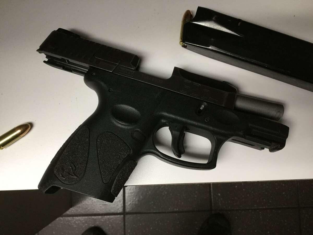 The gun seized during an arrest in Meriden, Conn., on Wednesday, Dec. 30, 2020.