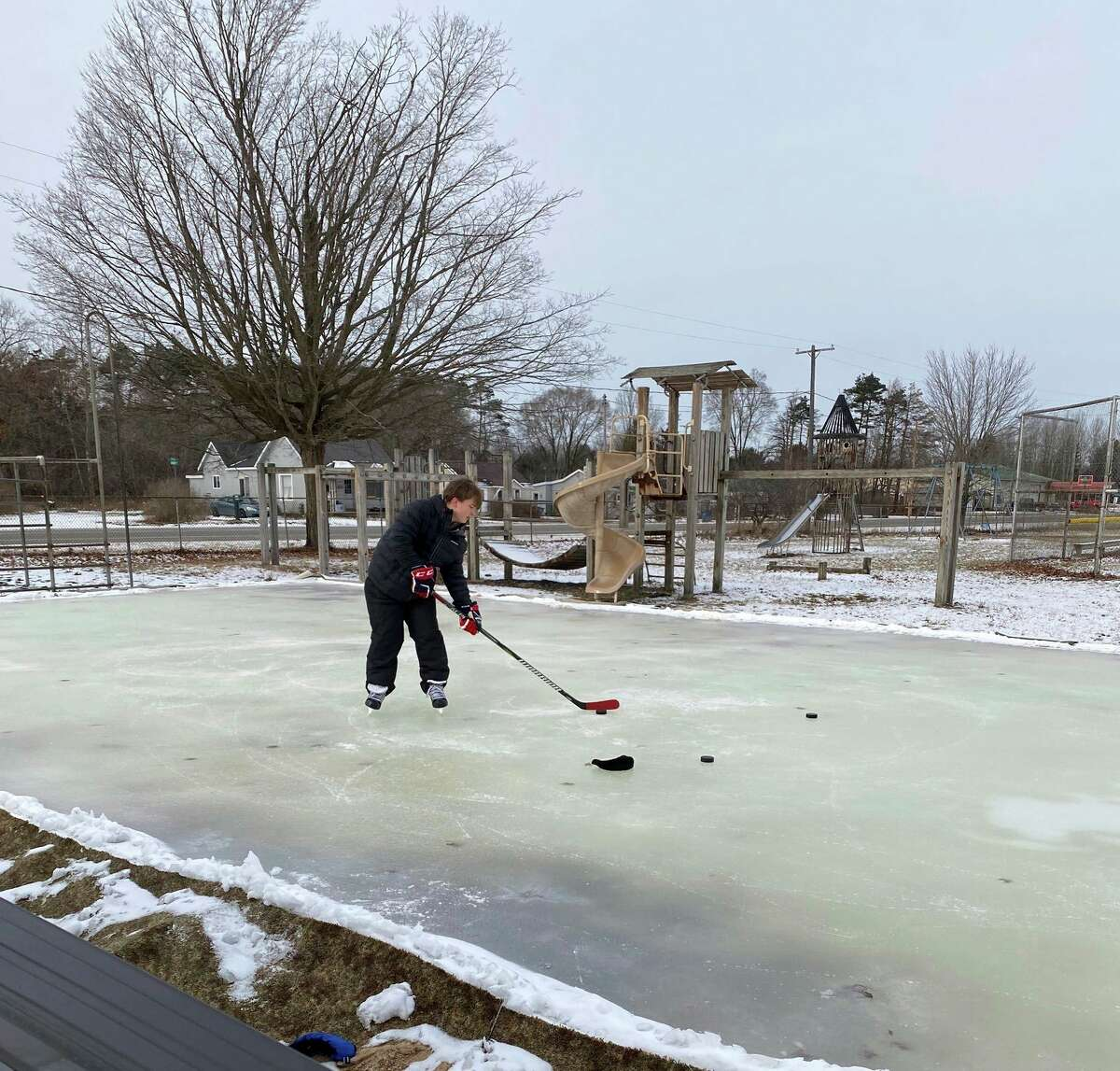 The ice rink is currently open at the Morley Community Center. The rink is an unsupervised recreational area that residents can use at their own risk. (Courtesy photo)