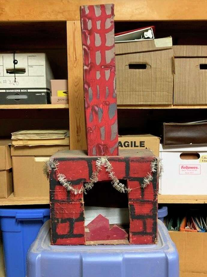Pictured is the fireplace Derek Dittenber of Freeland made in Virginia Florey's second grade class. The fireplace has been stored in his parents' attic. (Photo provided/Derek Dittenber)