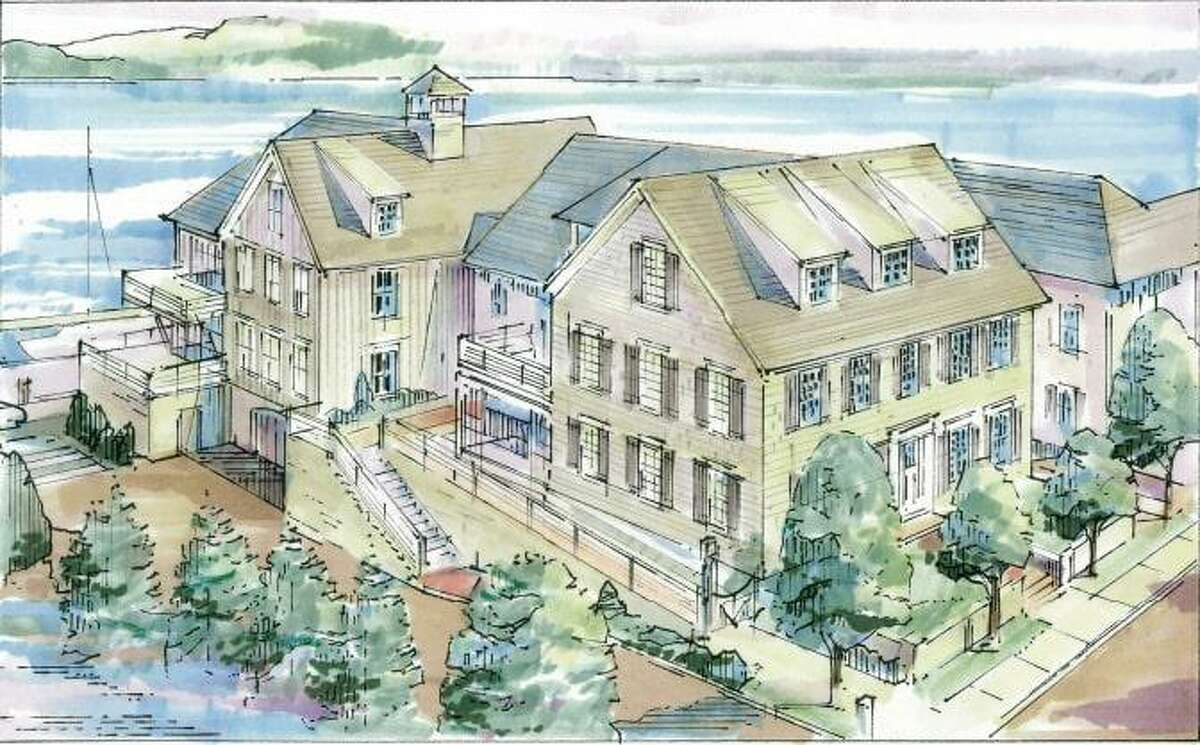 An artist rendering shows a four-apartment complex that is proposed for 143 Rowayton Ave. in Norwalk.