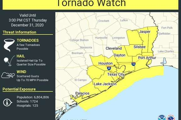 The National Weather Service issued a tornado watch for southeast Texas on Thursday.