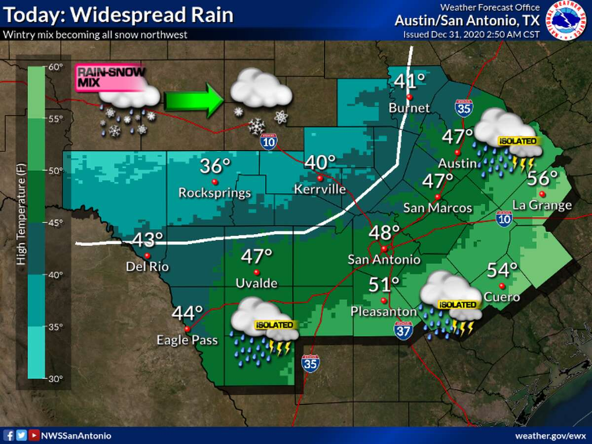 Parts of the Hill Country may see up to 4 inches of snow Thursday, according to the National Weather service.