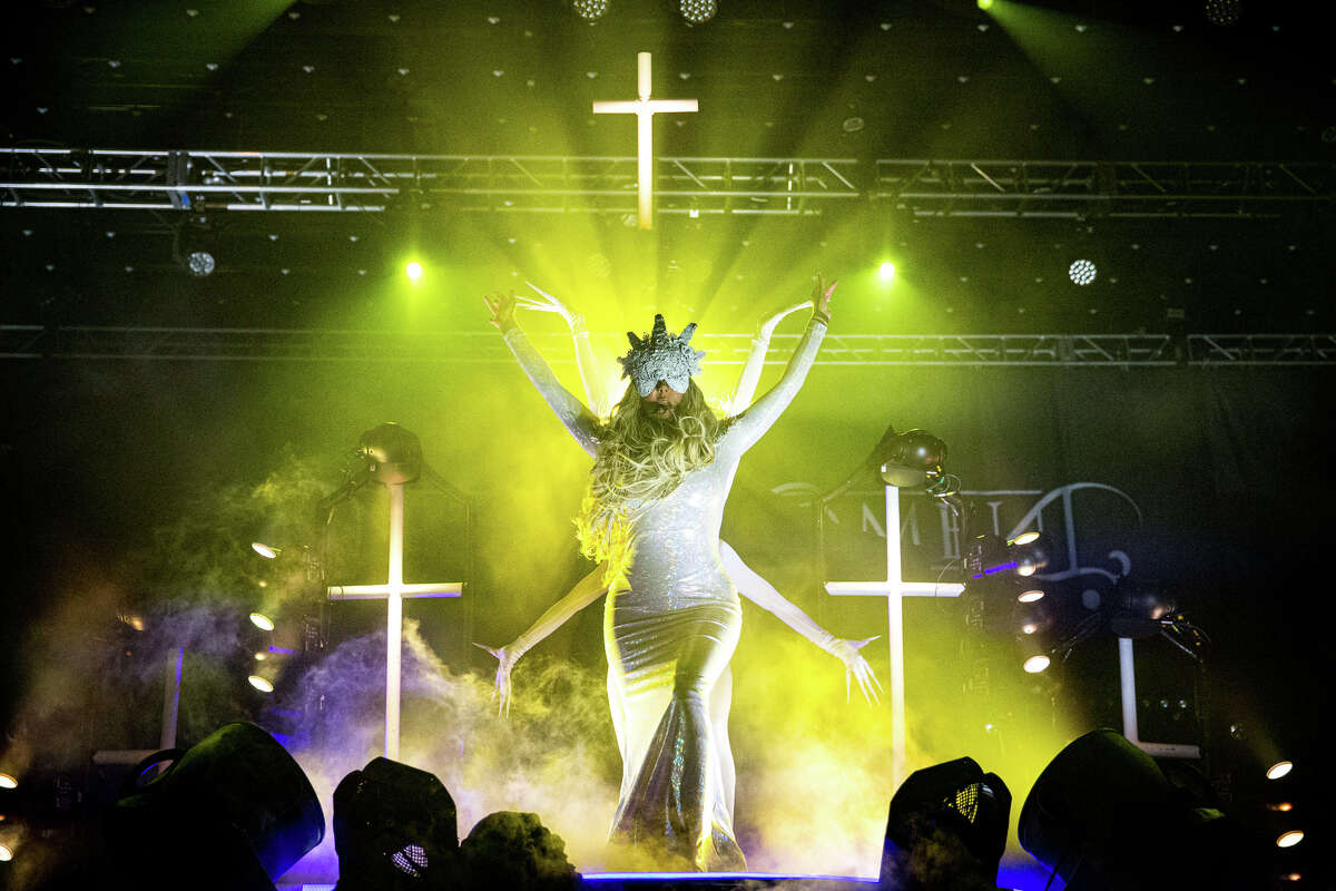 Maria Brink of In This Moment performs at the Albany Convention Center on August 3, 2018.