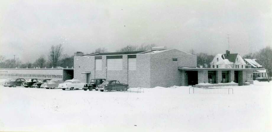 This photo shows a view of Jefferson Elementary School in the winter of 1955. (Manistee County Historical Museum photo)