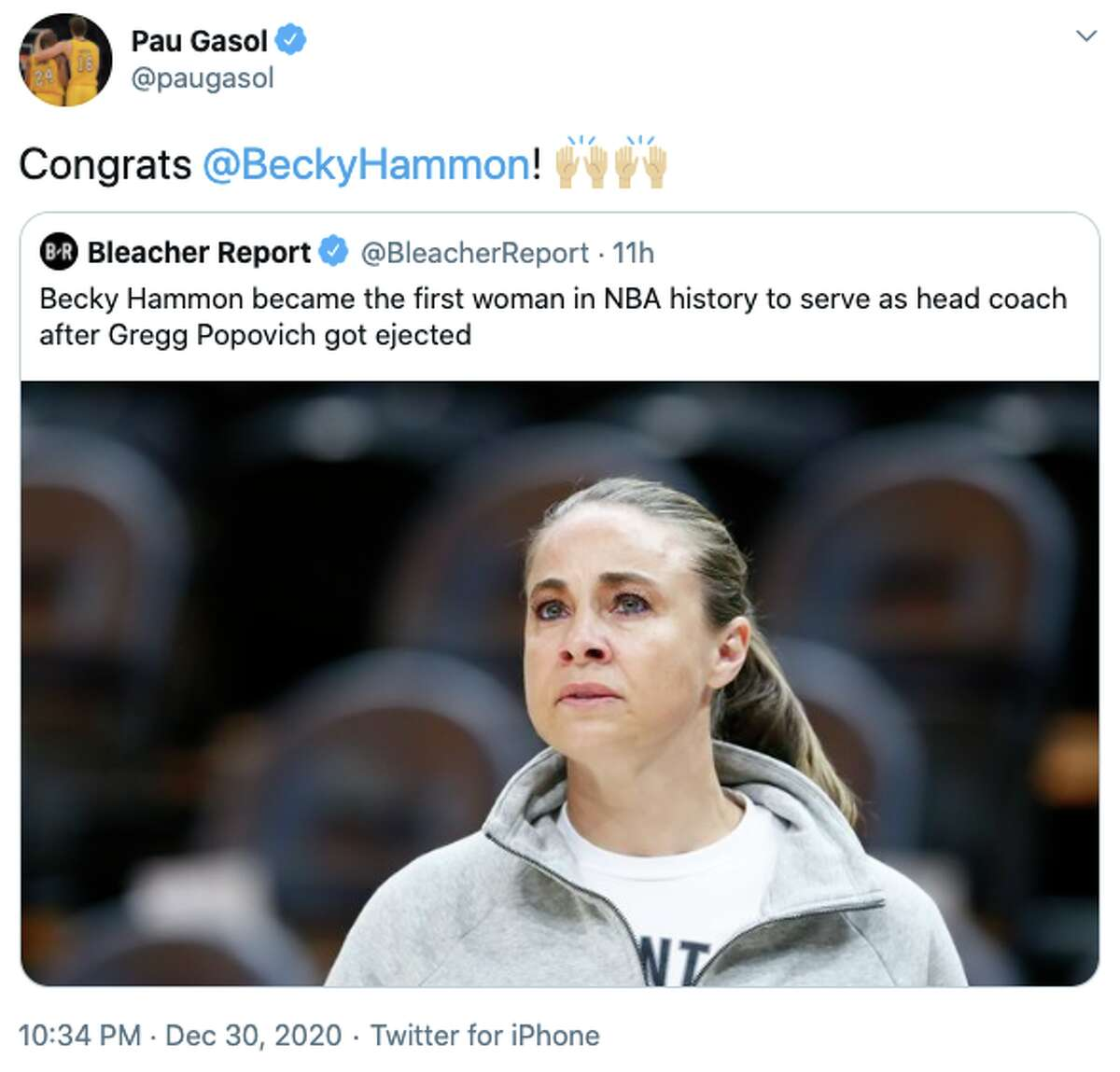 Becky Hammon made history on Wednesday night. The basketball world - and many others beyond - noticed.