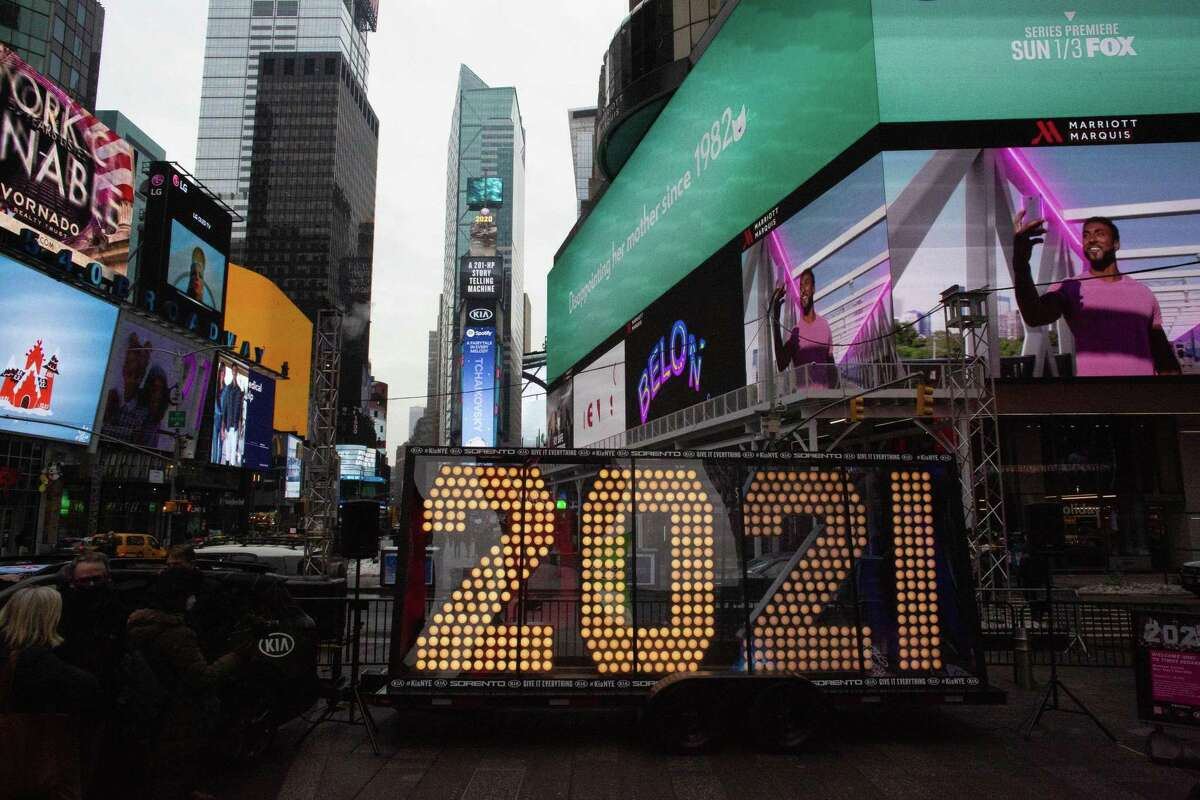"""The """"2021"""" New Year's Eve numerals arrived in Times Square in December. After a terrible 2020, hope is riding high for 2021."""