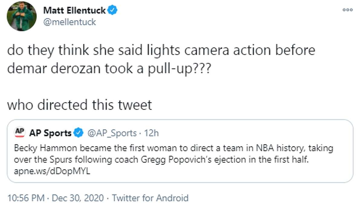 @mellentuck: do they think she said lights camera action before demar derozan took a pull-up??? who directed this tweet