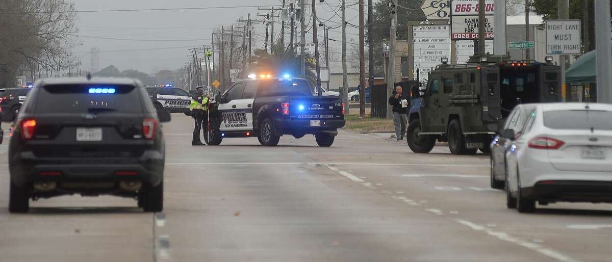 Beaumont police continue to work the scene of an officer involved shooting on College Street early Thursday morning. Photo taken Thursday, December 31, 2020 Kim Brent/The Enterprise