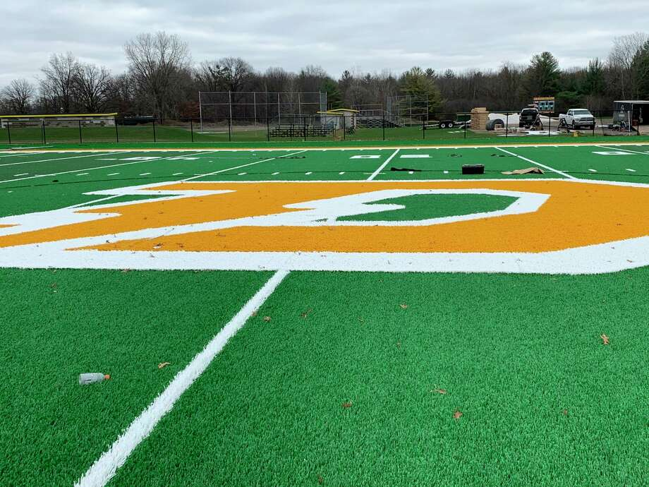 Dow High's new turf field is seen shortly before its completion in early November. (Daily News file photo)