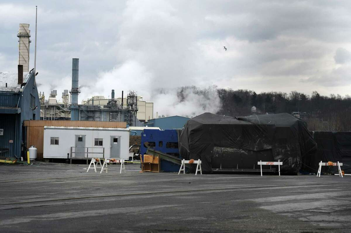A generator made by General Electric Co. in Schenectady fell during transportation at the Port of Albany on Thursday, Dec. 31, 2020, in Albany, N.Y. (Will Waldron/Times Union)