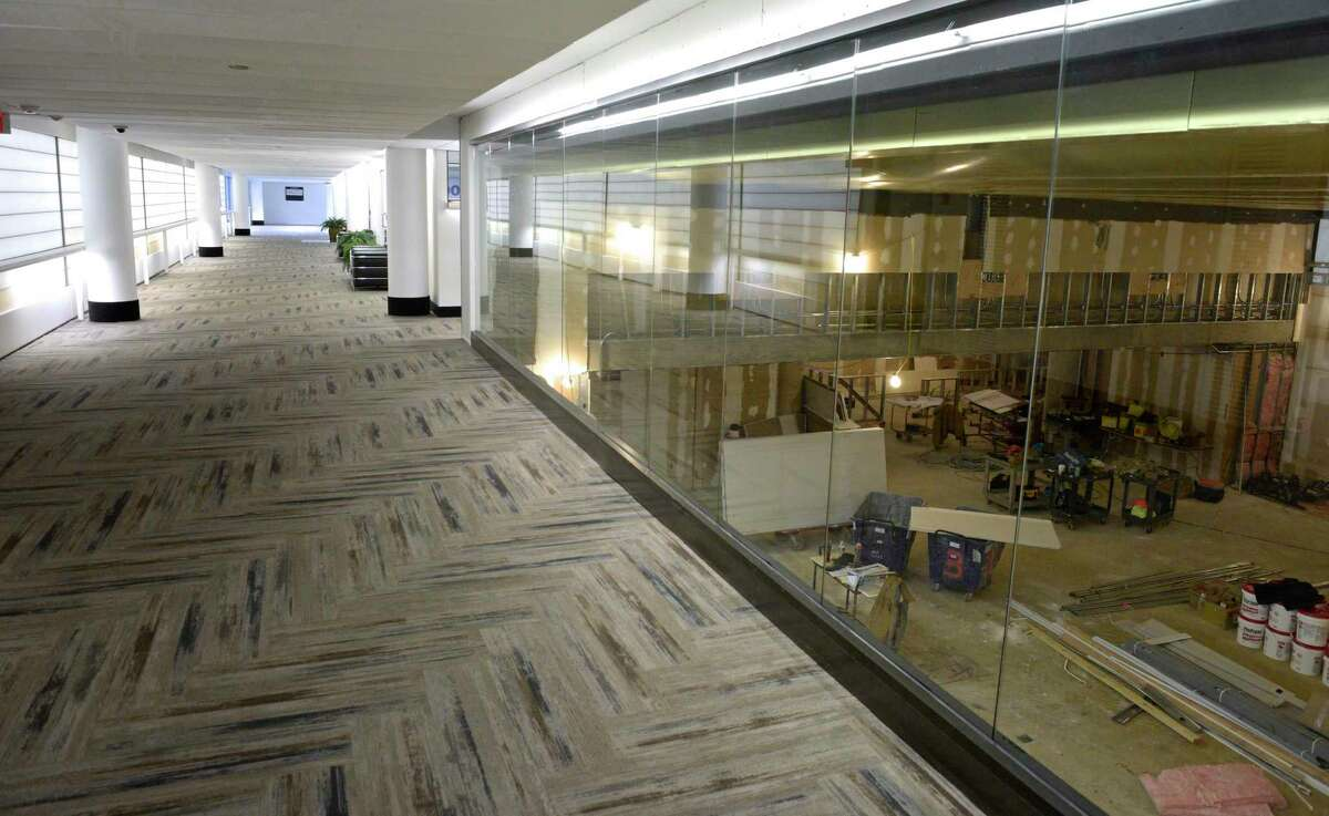 Platinum Fitness is building out a space at the Summit at Danbury, a mix of office, retail and residential is being developed in the old Matrix building. Thursday, January 30, 2020, in Danbury, Conn. A glass wall was installed, re-using glass from a former occupant of the building.