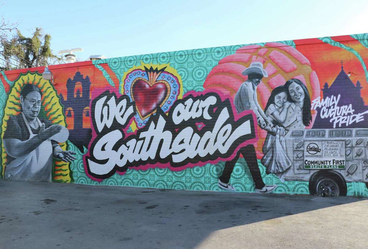 """""""We Love Our Southside"""" is the The San Antonio Street Art Initiative's first mural on the Southside."""