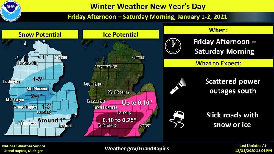 A weather advisory has been issued from noon Friday to 6 a.m. Saturday for Midland County. (Photo/National Weather Service/Grand Rapids)
