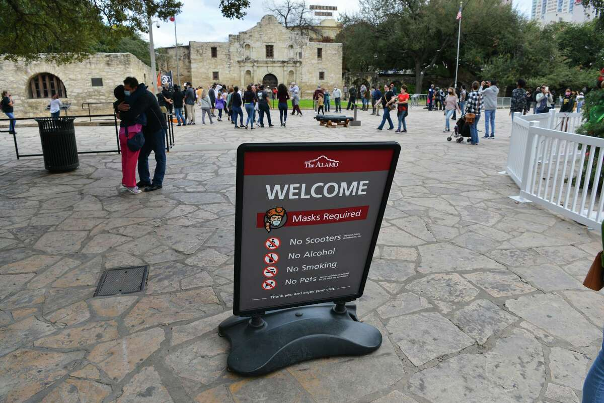 Mask are required of visitors at the Alamo as part of the coronavirus protocols.