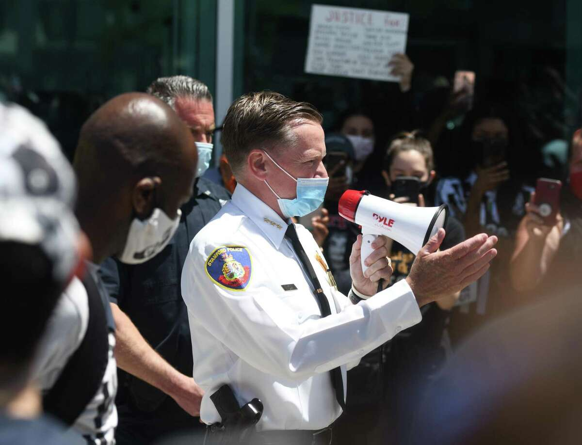 Stamford Police Chief Tim Shaw speaks at the Black Lives Matter protest in Stamford, Conn. Sunday, May 31, 2020.