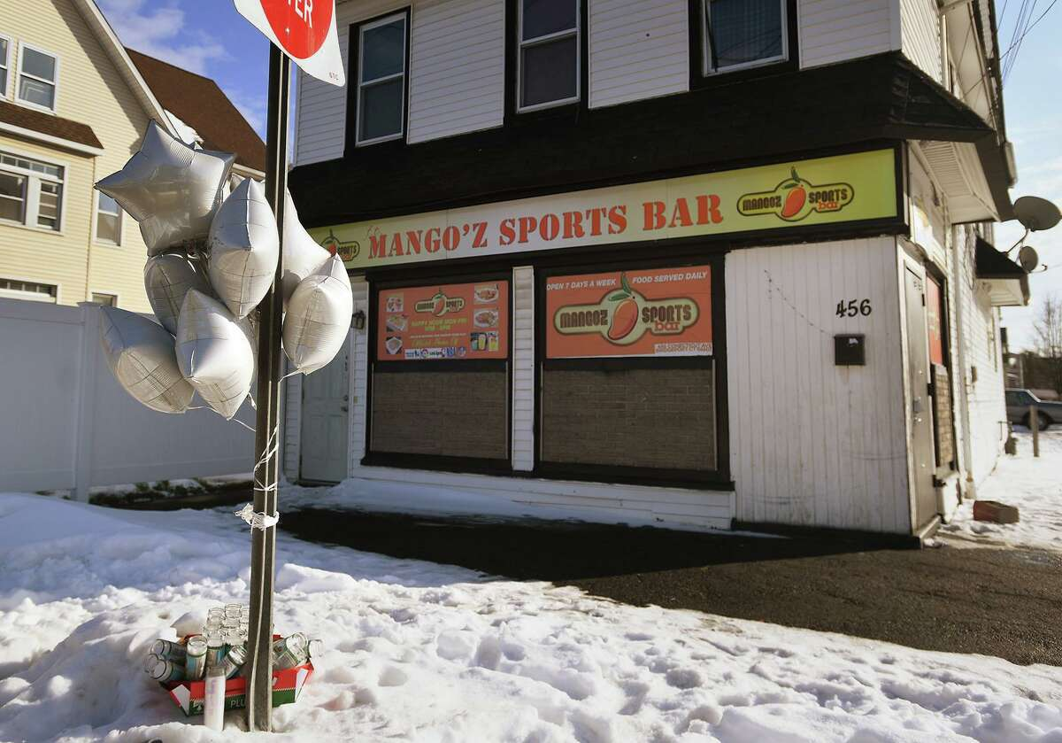 Mangoz Sports Bar, at 456 Connecticut Avenue in Bridgeport, Conn. on Monday, December 21, 2020 a day after it had been the site of a shooting that left two people dead and two others injured. Connecticut health officials announced on New Year's Eve they had issued a $10,000 fine to the bar's owner over the gathering that night that allegedly violated the state's COVID-19 rules.