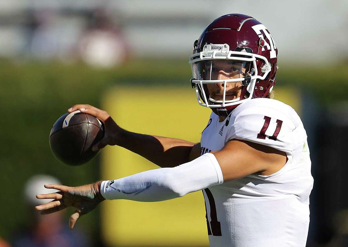 AUBURN, ALABAMA - DECEMBER 05: Kellen Mond #11 of the Texas A&M Aggies looks to pass against the Auburn Tigers during the first half at Jordan-Hare Stadium on December 05, 2020 in Auburn, Alabama. (Photo by Kevin C. Cox/Getty Images)