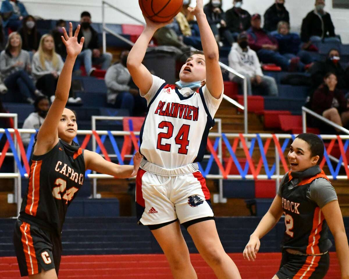 Plainview's Janessa Pauda had 13 points in the second half to help the Lady Bulldogs pull away with a 78-58 District 3-5A win over Amarillo Caprock on Thursday afternoon in the Dog House at Plainview High School.