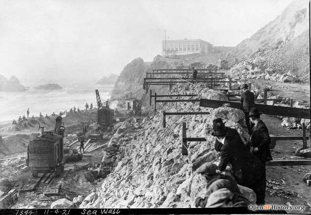 Locals build the seawall near the Cliff House. San Francisco was constantly building seawalls from the Gold Rush on, as it sought to make piers and solidify sandy areas. Photo: OpenSFHistory / Wnp36.02636.jpg