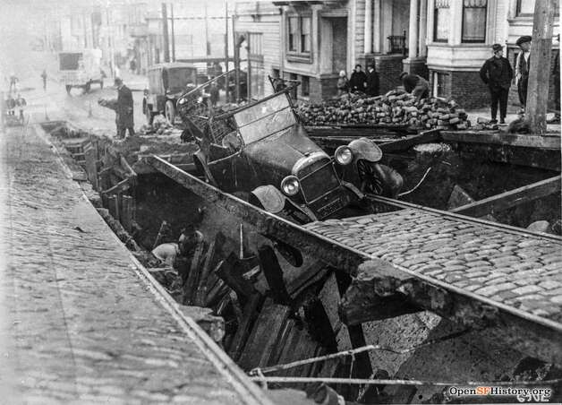 An unlucky car sinks through the street after a collapse on Stanyan near Carl in February 1921. Photo: OpenSFHistory / Wnp36.02463.jpg
