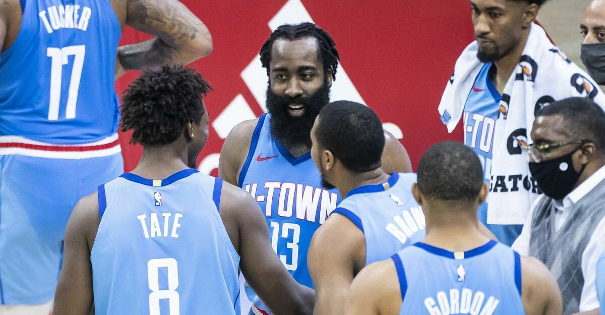 Houston Rockets guard James Harden (13) smiles at the end of the fourth quarter of the Houston Rockets 122-119 win over the Sacramento Kings on Thursday, Dec. 31, 2020, at Toyota Center in Houston.