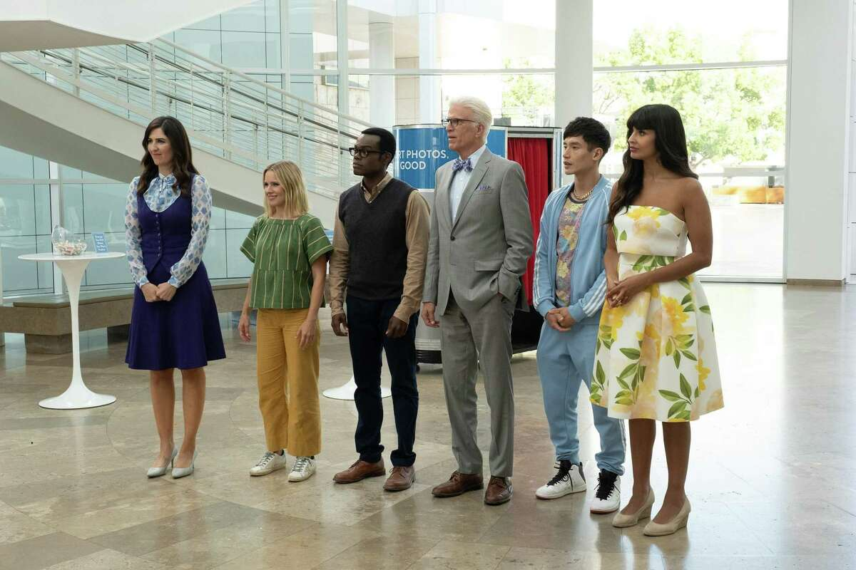 """From left, D'Arcy Carden, Kristen Bell, William Jackson Harper, Ted Danson, Manny Jacinto and Jameela Jamil appear in the final season of """"The Good Place."""""""