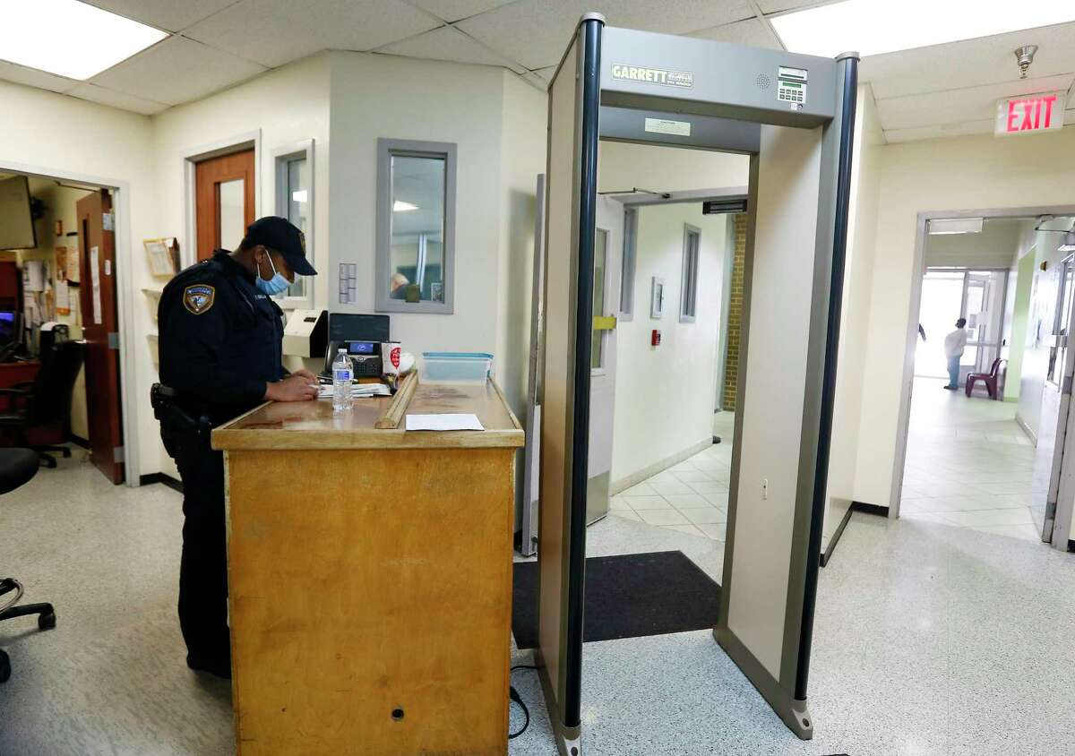 The metal detector where Deputy Jeffrey Barnes works at in the Harris County Jail in Houston on Thursday, May 14, 2020.