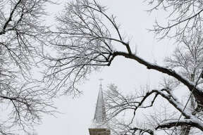 1. This photo shows a crisp wintry scene at Guardian Angels Catholic Church in Manistee in late January.