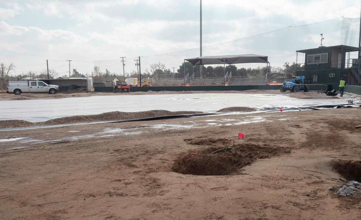 Work continues on Midland High's baseball field 12/29/2020, as the field is resurfaced with turf. Tim Fischer/Reporter-Telegram