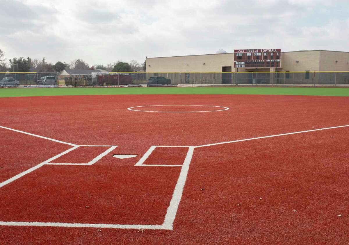 Lee High's softball field is nearly complete 12/29/2020, as the field is resurfaced with turf. Tim Fischer/Reporter-Telegram