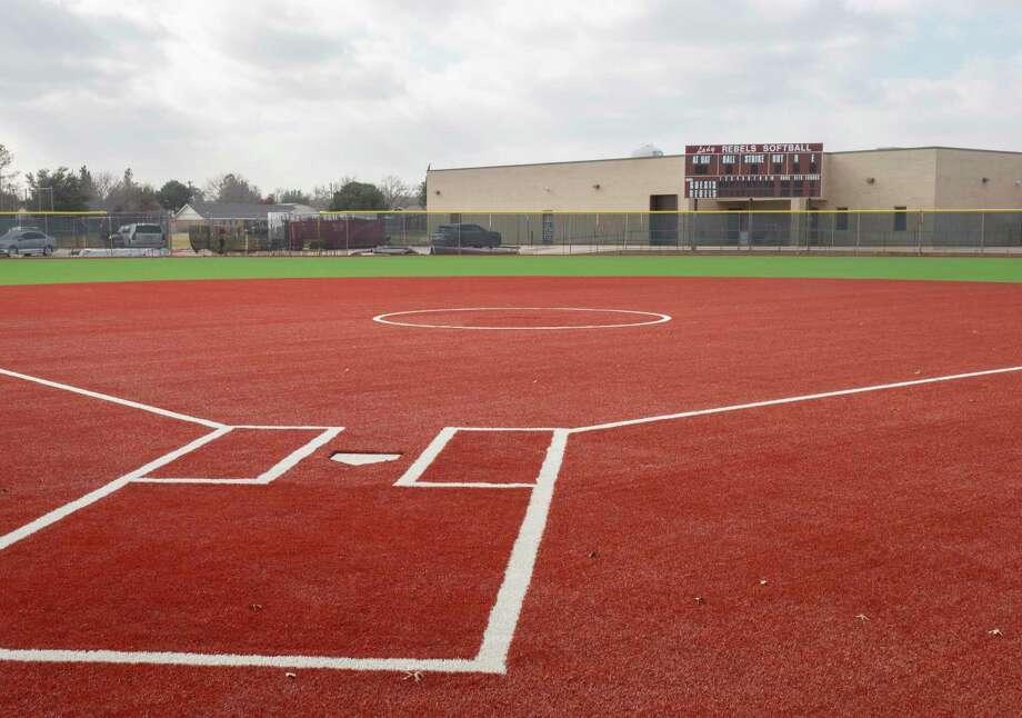 Lee High's softball field is nearly complete 12/29/2020, as the field is resurfaced with turf. Tim Fischer/Reporter-Telegram Photo: Tim Fischer, Midland Reporter-Telegram