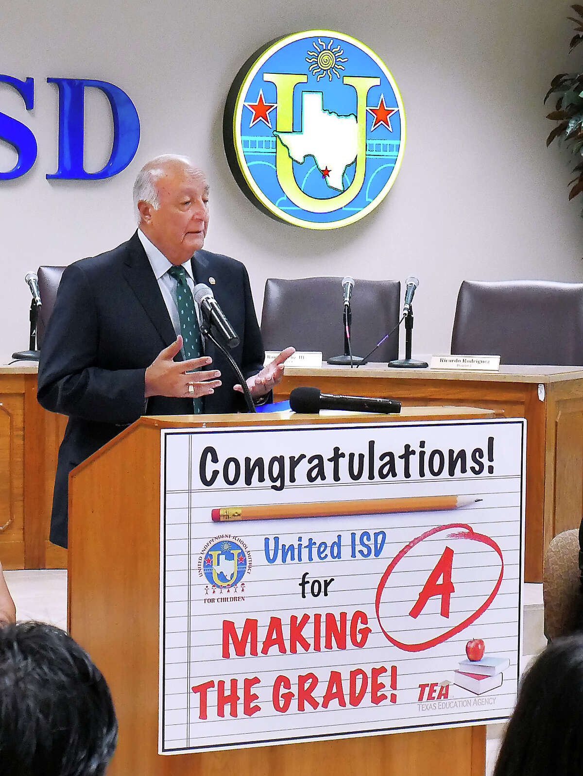 United ISD Superintendent Roberto J. Santos was accompanied by administrators and board members as they participated in a press conference, Thursday, August 16, 2018, at the UISD Board Room to announce that the district received an A rating in the Texas Education Agency 2018 state accountability ratings and a dropped in the proposed 2018 tax rate.