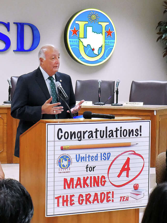 United ISD Superintendent Roberto J. Santos was accompanied by administrators and board members as they participated in a press conference, Thursday, August 16, 2018, at the UISD Board Room to announce that the district received an A rating in the Texas Education Agency 2018 state accountability ratings and a dropped in the proposed 2018 tax rate. Photo: Cuate Santos/Laredo Morning Times