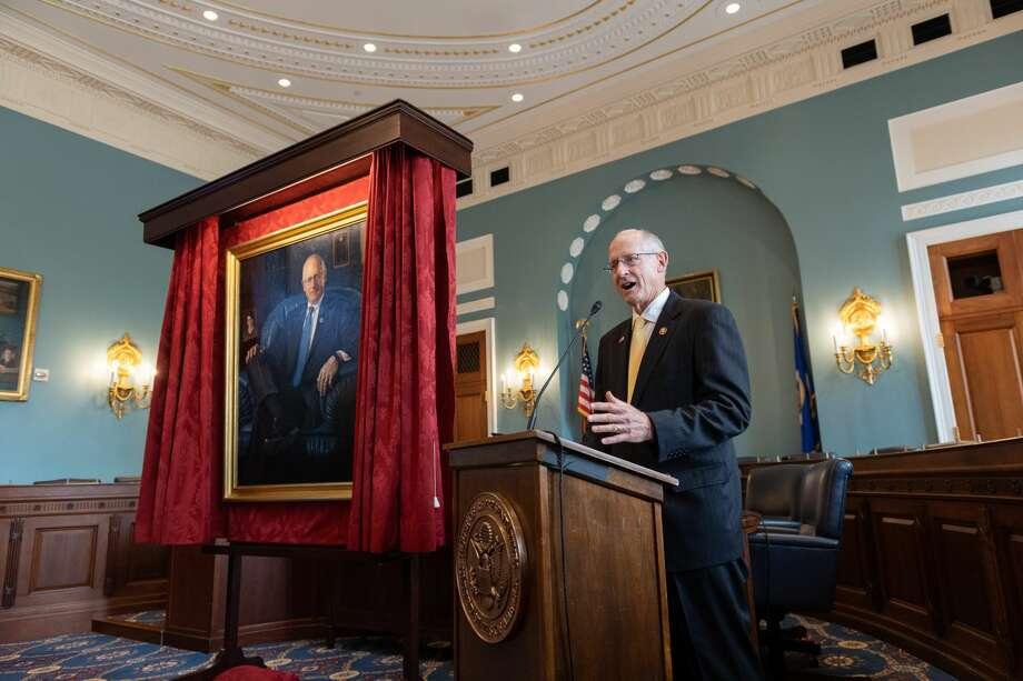 U.S. Rep. Mike Conaway speaks at the unavailing of his portrait. Photo: Franmarie Metzler
