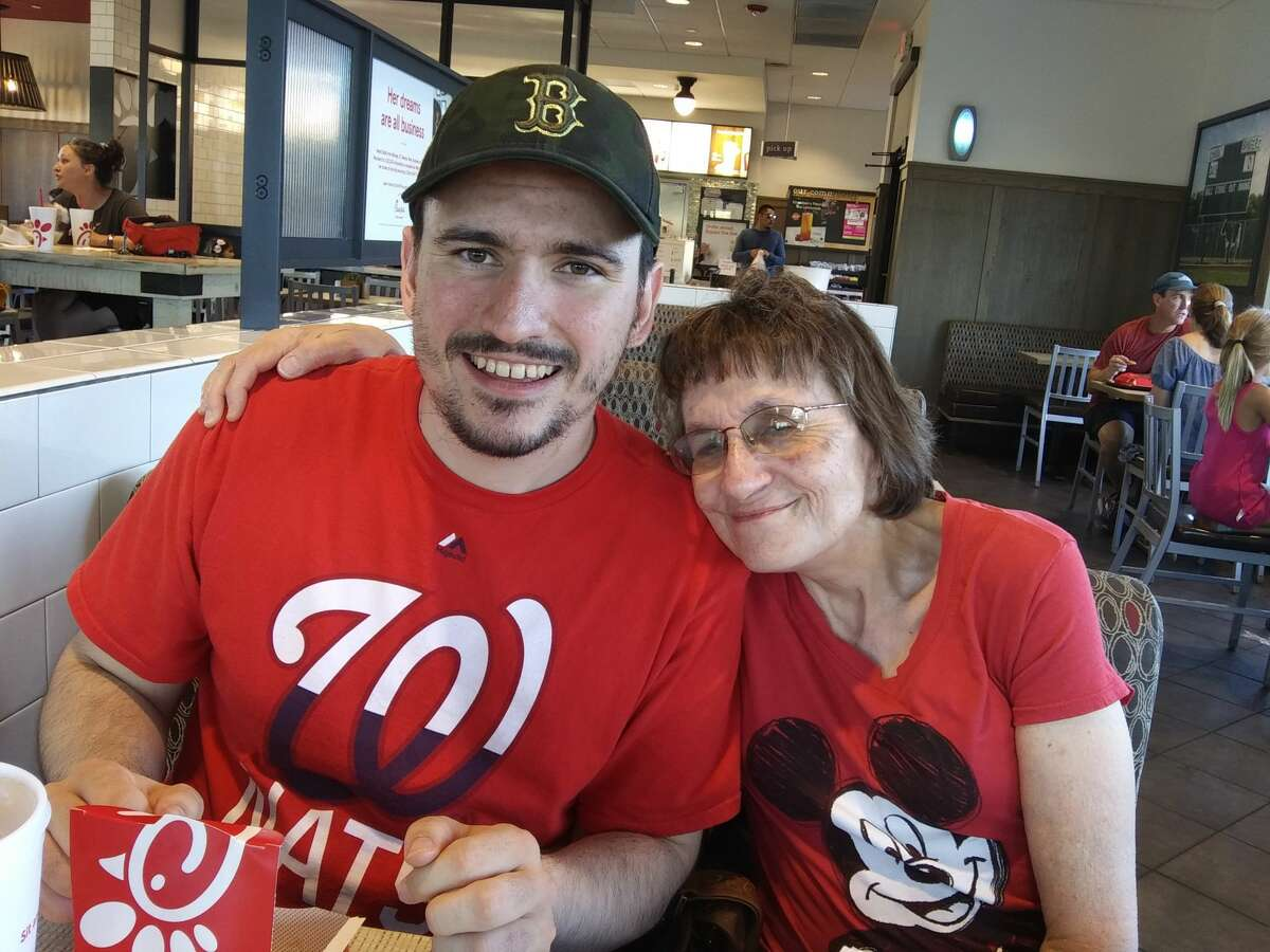 Mary Dearen and her son, Wesley, enjoy supper at Chick-fil-A on Loop 250 Aug. 12, 2019. Wesley has been a newspaper reader since he was in elementary school.