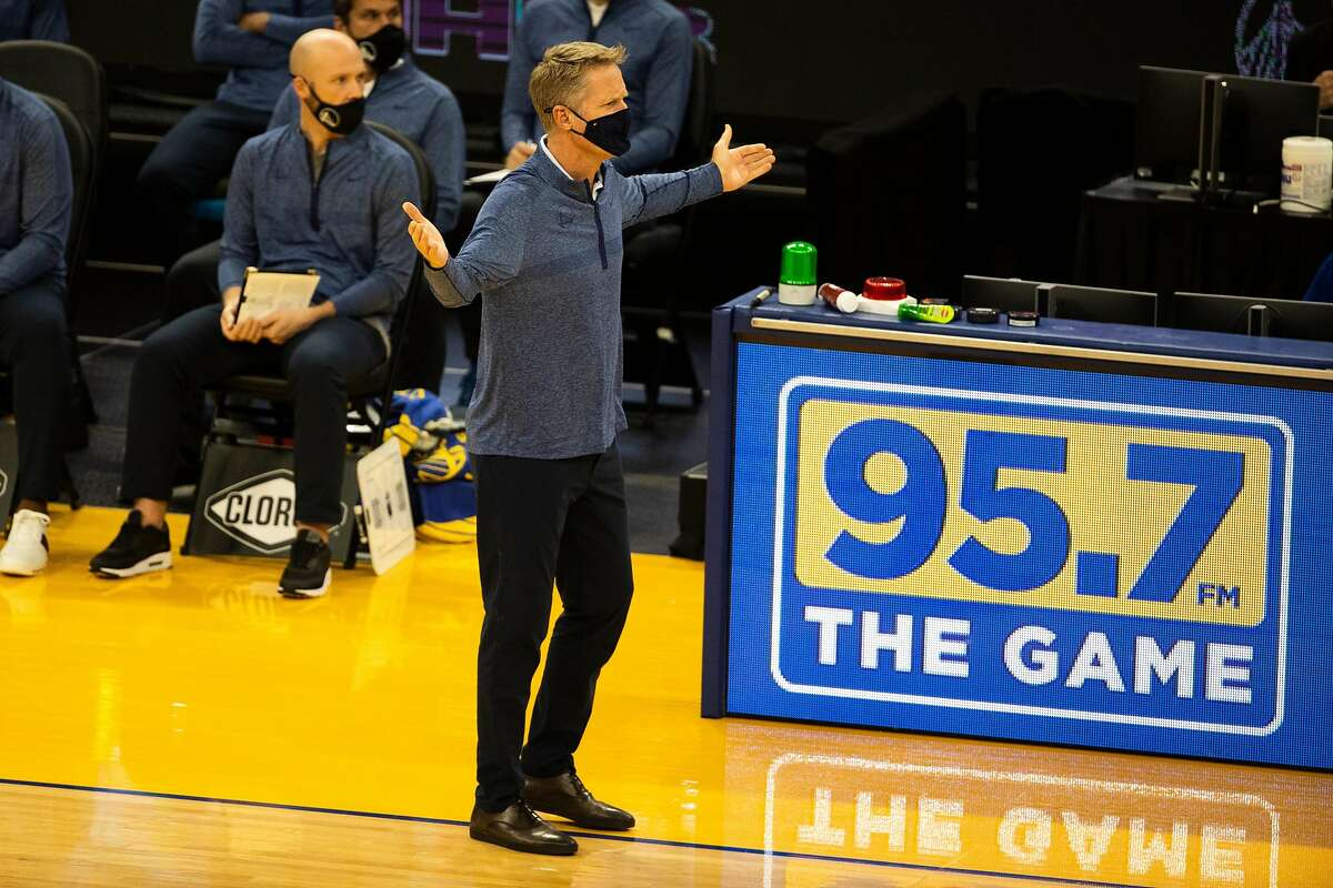 Golden State Warriors Head Coach Steve Kerr reacts to a call during the first quarter of a NBA basketball game against the Portland Trailblazers on Friday, Jan. 1, 2021 in San Francisco, Calif..