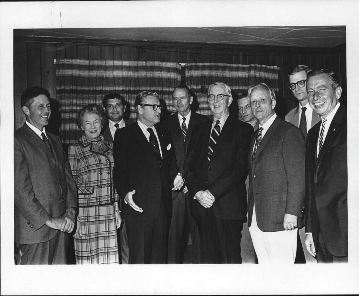 Appointees with the newly formed Adirondack Park Agency gather with Republican Gov. Nelson Rockefeller, left center, in September 1971. Today the Ray Brook-based agency has 11 board members and a staff of about 50. (Times Union Archive)