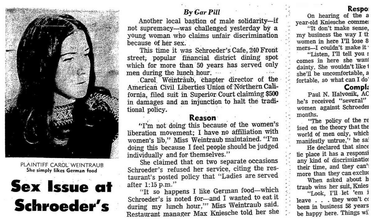 This photo illustration shows a headline and parts of an article from the San Francisco Chronicle in 1970, when a woman protested Schroeder's men-only lunch policy.