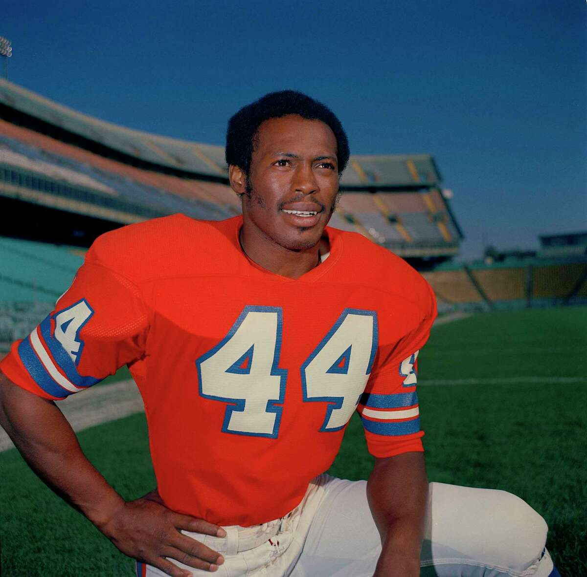 Floyd Little, running back for the Denver Broncos, 1972. Location unknown. (AP Photo)