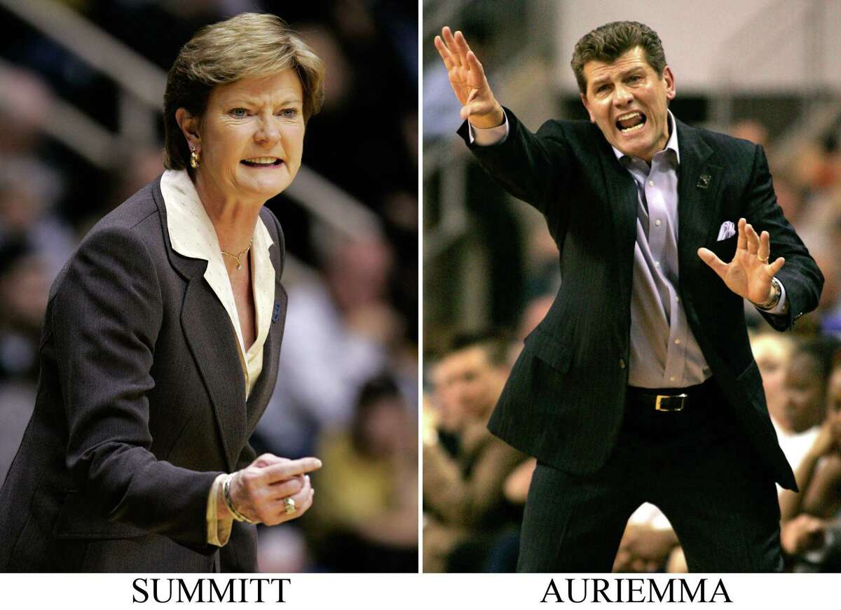 ** FILE ** Tennessee coach Pat Summitt questions a call as her team plays Oral Roberts in the first half of a first-round women's NCAA basketball tournament game in West Lafayette, Ind., in a March 23, 2008 file photo. Connecticut coach Geno Auriemma reacts as his team plays Texas during the second half of a second-round NCAA women's basketball tournament game in Bridgeport, Conn., in a March 25, 2008. file photo. Tennessee, Connecticut, Stanford and LSU will compete in the women's Final Four.(AP Photo/Files)