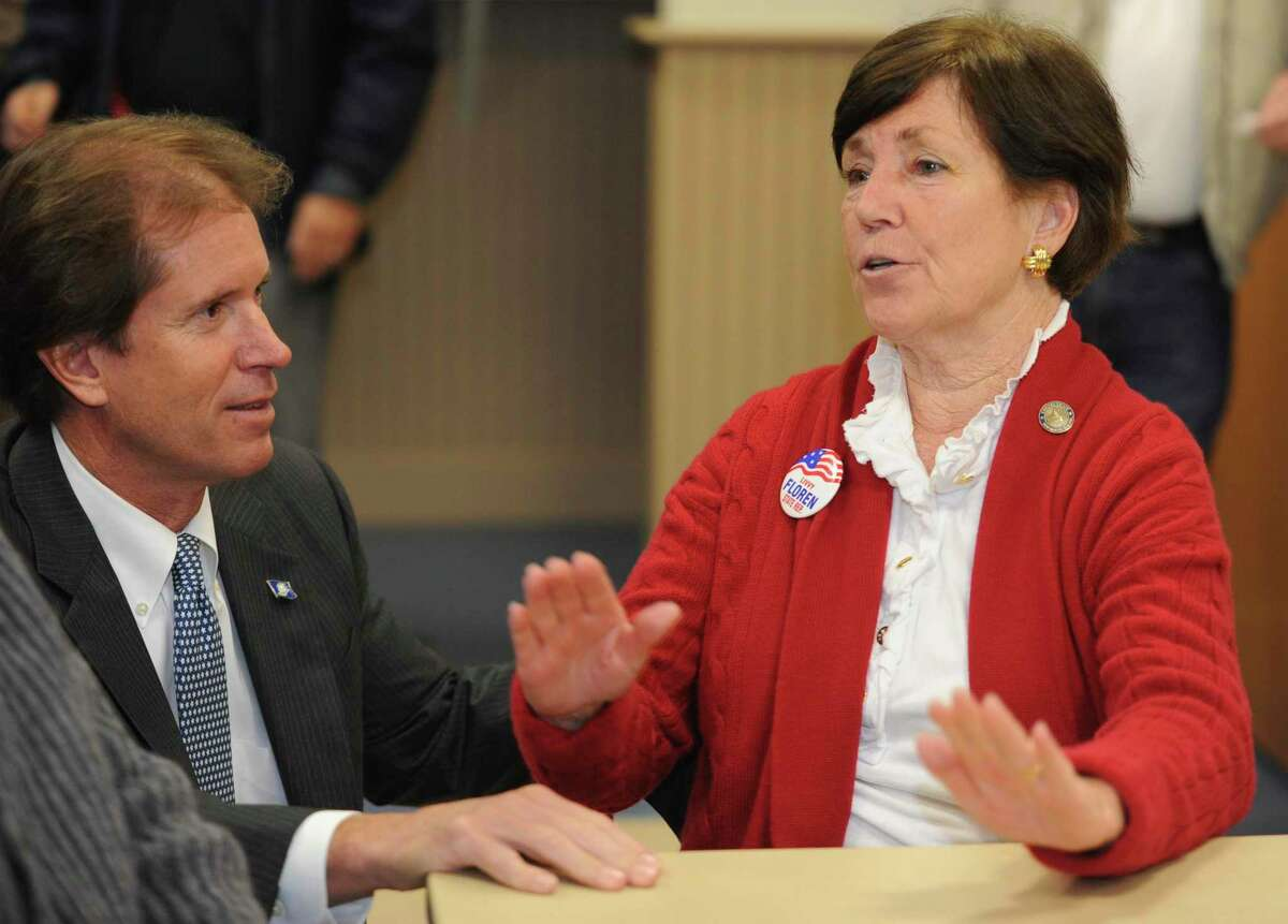 State Sen. L Scott Frantz, R-36th District, speaks with state Rep. Livvy Floren, R-149th District, in 2012