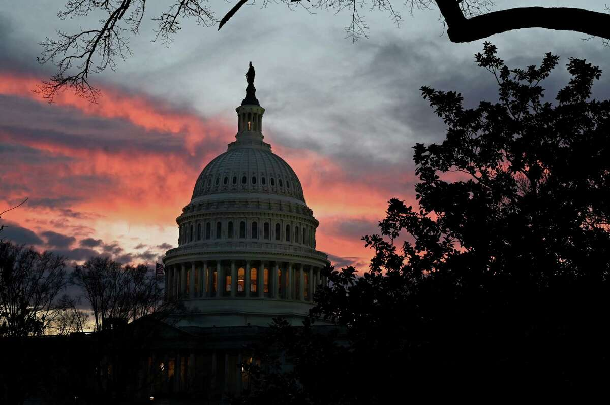 The U.S. Capitol is pictured with the sun setting on Dec. 30, 2020 in Washington, D.C.